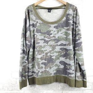 Torrid beaded shoulder Camo sweater | Size 3X